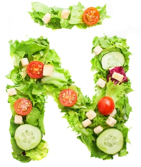 Letter Ñ with a mixture of vegetables