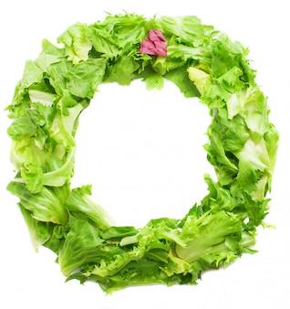 Letter o made of tasty lettuce