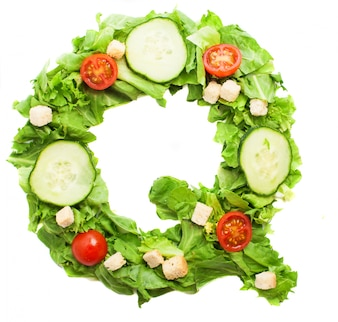 Letter q made with different vegetables