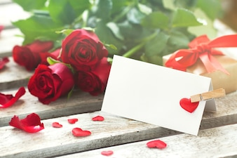 Letter with a clothes pin and roses