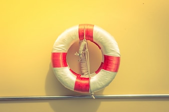 Lifebuoy at the Swimming pool . ( Filtered image processed vinta