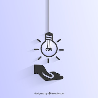 Light bulb and hand icon