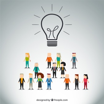 Light bulb icon with many people