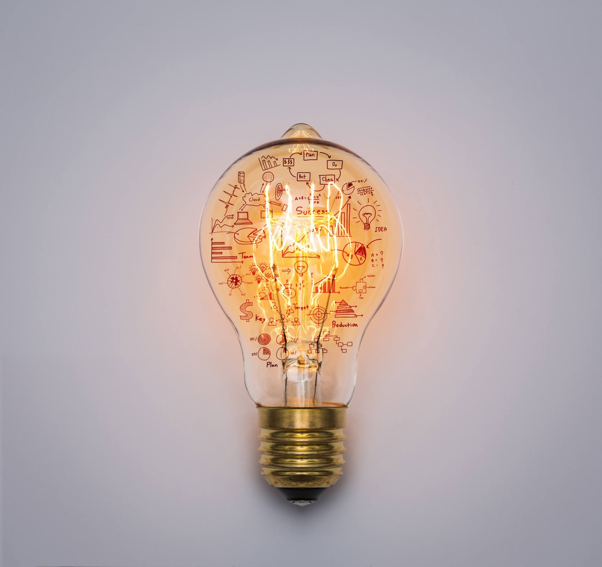 Light bulb with drawing graph