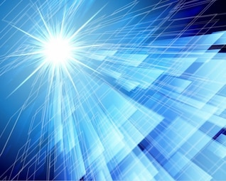 Light in blue abstract background