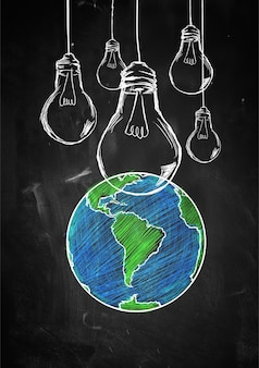 Light up the world sketch blackboard
