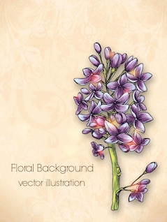 Lilac painted flower material background vector set