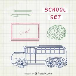 Line art school set