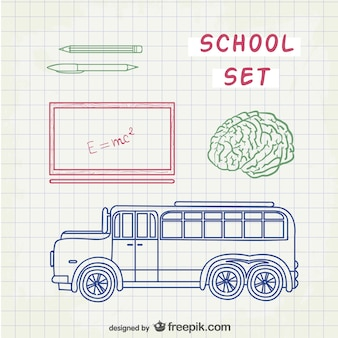 Line art school set