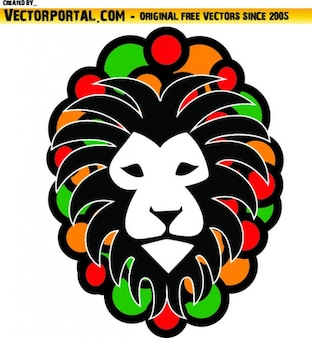Lion head with rastafari colors