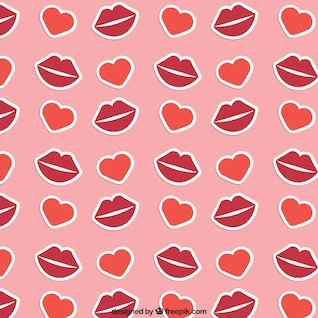 Lips and hearts pattern