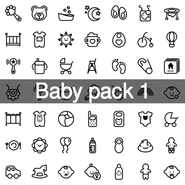 Little baby icons set