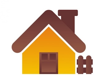Little house icon with picket fence