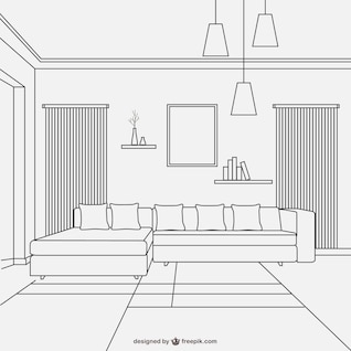 Living room linear style design
