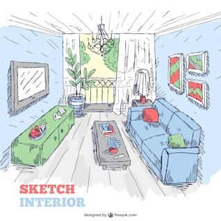 Living room sketch interior doodle