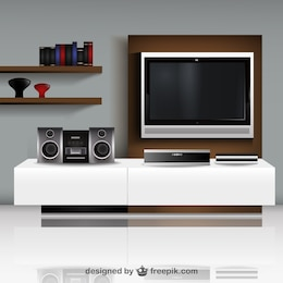 Living room with TV illustration vector