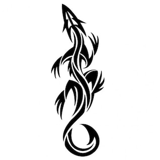 Lizard tribal tatto graphic design