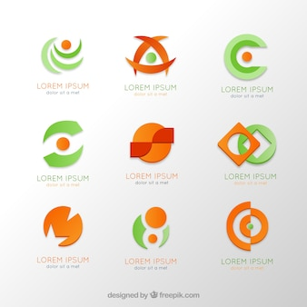 Logos collection in orange and green colors