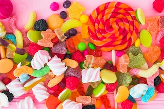 Lollipop, marshmallows and winegums