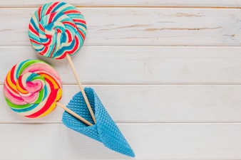 Lollipops in ice-cream cone