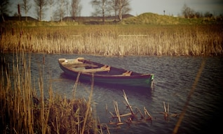 Lonely wooden boat