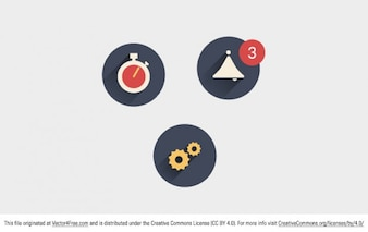 Long shadow icons in flat design