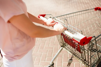 Look from above at woman's hands holding shopping carriage
