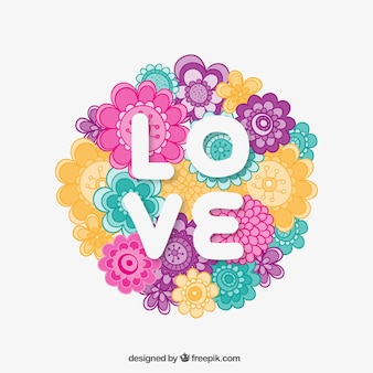 Love card with colorful flowers
