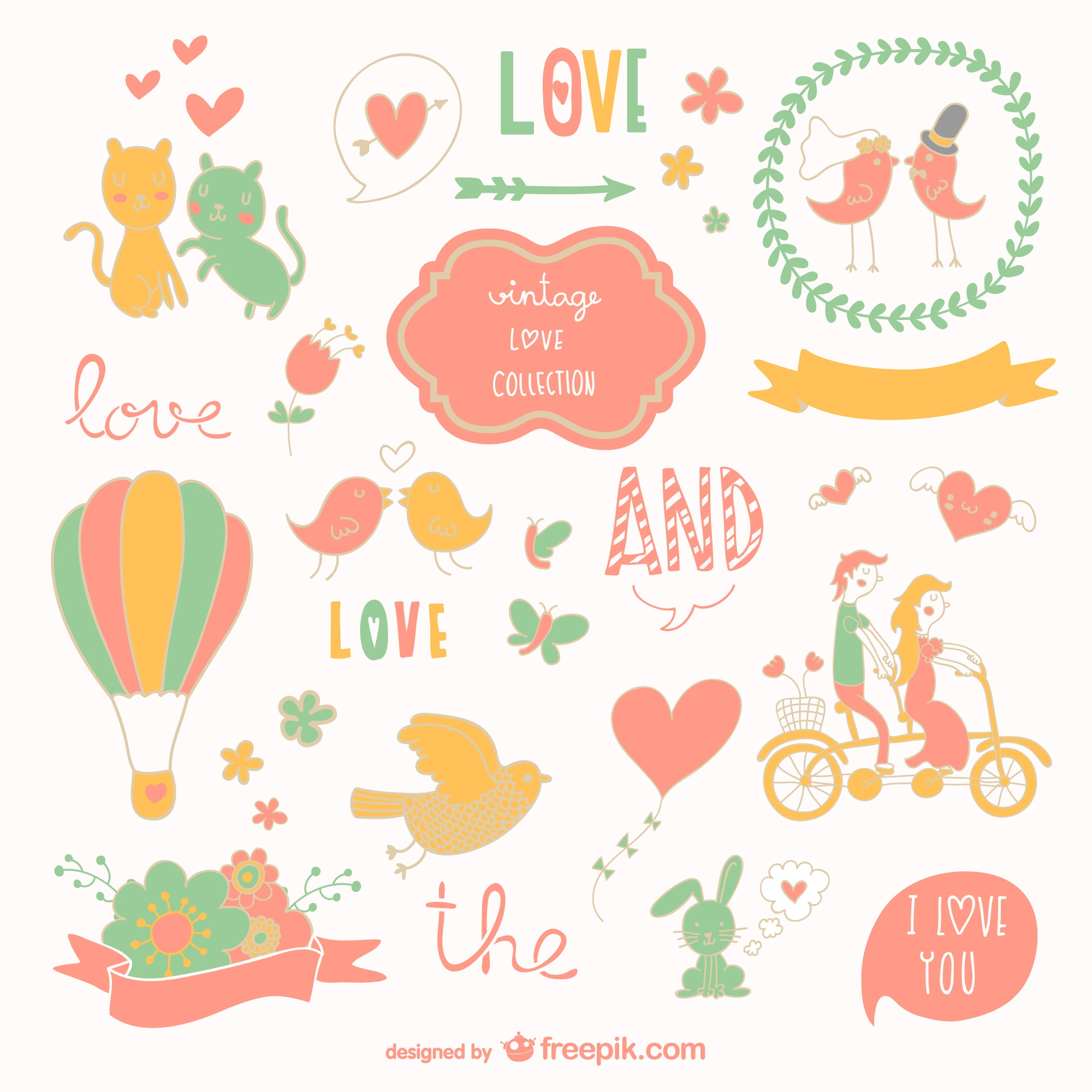 Love vector graphics drawings set