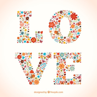 Love word made of flowers