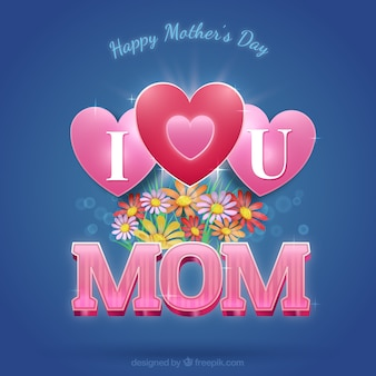 Love you mom card with flowers