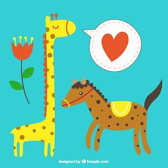 Lovely horse and giraffe