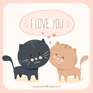 Loving cats cartoon