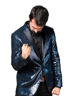 Lucky handsome man with sequin jacket