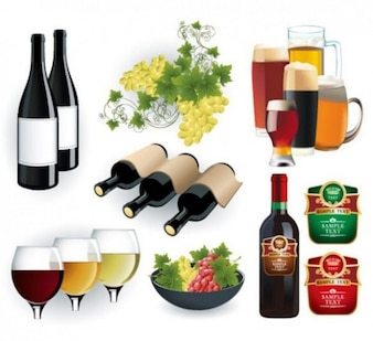 Luxurious wine bottles and beer glasses