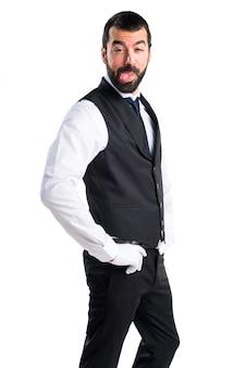 Luxury waiter doing a joke
