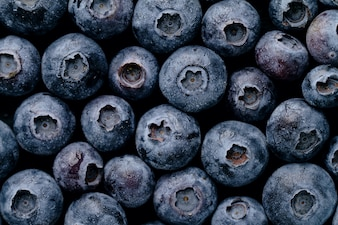 Macro Closeup of Fresh Tasty Blueberry Berry. Summer Food. Food Fruit Healthy Life Concept.
