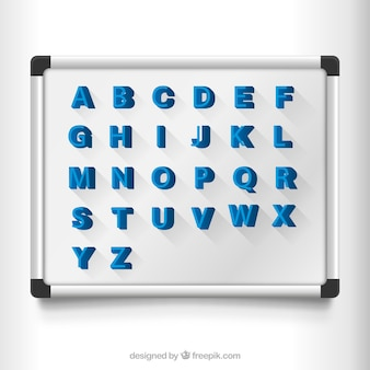 Magnetic letters on a board