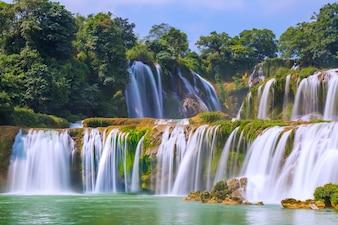 Majestic asian cascade flow countryside