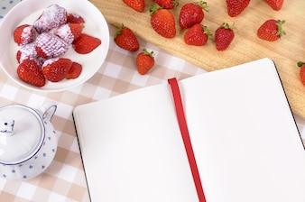 Making a strawberry recipe