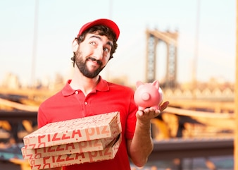 Male pizza courier with moneybox