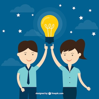 Man and woman with an idea