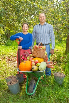 Man and woman  with  harvested vegetables