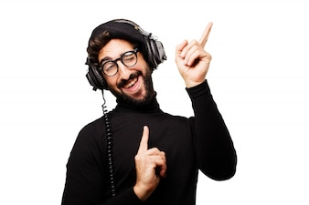 Man dancing while listening to music