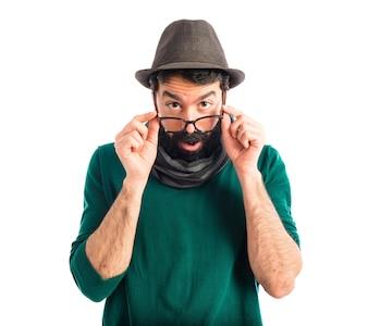 Man doing surprise gesture