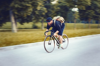 Man exercising with bicycle
