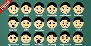 Man faces with emotion and feelings