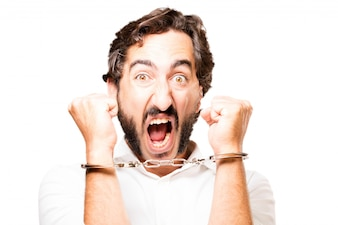 Man handcuffed with handcuffs police and screaming
