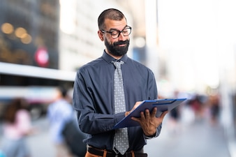 Man holding notes
