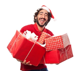 Man laughin gwith santa's hat with many gifts
